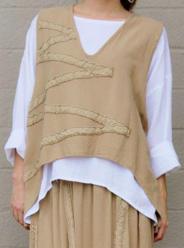 OH MY GAUZE Cotton Crop Layering STAR Vest OS+ L/XL/1X/2X KHAKI