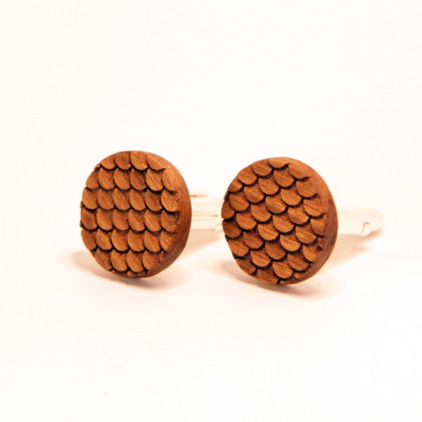 The Scale cufflinks are etched from cherry or walnut.
