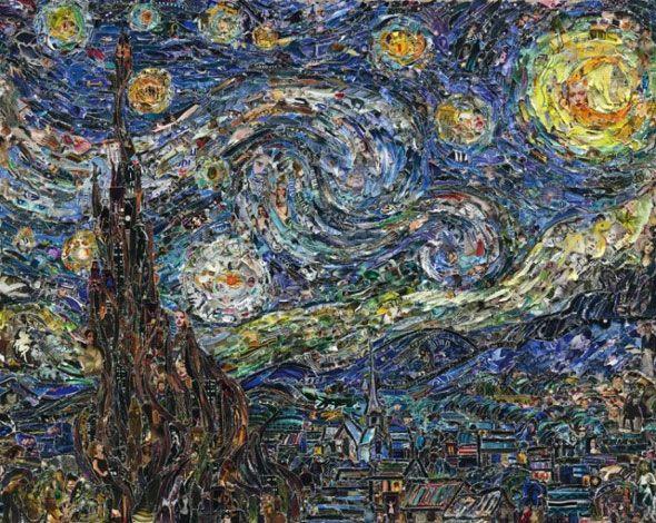 L'artiste brésilien basé à Brooklyn, Vik Muniz, présente neuf nouvelles œuvres « Pictures of Magazine 2″, exposées à la Galerie Xippas à Paris. Les neuf pièces sont des reproductions de peintures célèbres de Van Gogh, Manet, Cézanne et autres artistes, qu'il réalise à partir de morceaux déchirés de magazines.