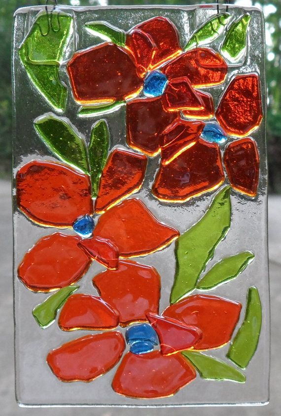 Orange Fused Glass Flowers by BohemianSpiritGlass on Etsy, $22.00