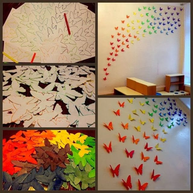 Diy paper butterflies wall art paper crafts pinterest for Butterflies for crafts and decoration