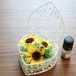 アロマストーン付き♪ハートポットのお花<ひまわり>