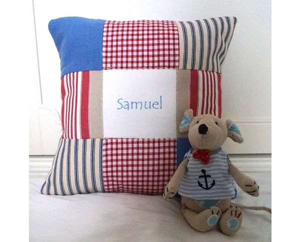 Toy mouse and blue name cushion gift set
