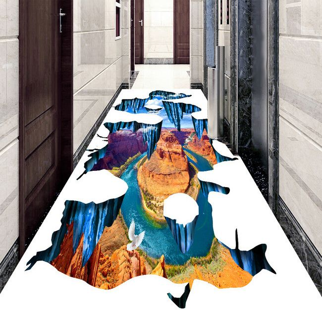 Usage : couloir dans un hôtel. Revêtement de sol ignifugé. Support : vinyle auto-adhésif repositionnable; Surface : PVC transparent.