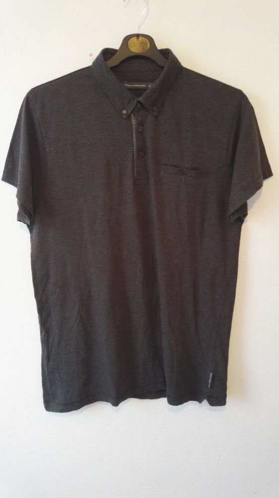 French Connection Mens Polo T Shirt Charcoal Grey Chest Pocket Size XL
