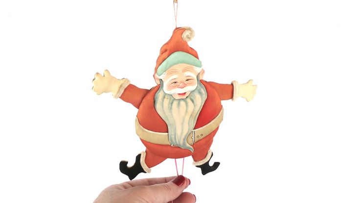 1970s Jumping Jack Santa Puppet made in People's Republic of China, String Puppets by LizzieTishVintage on Etsy