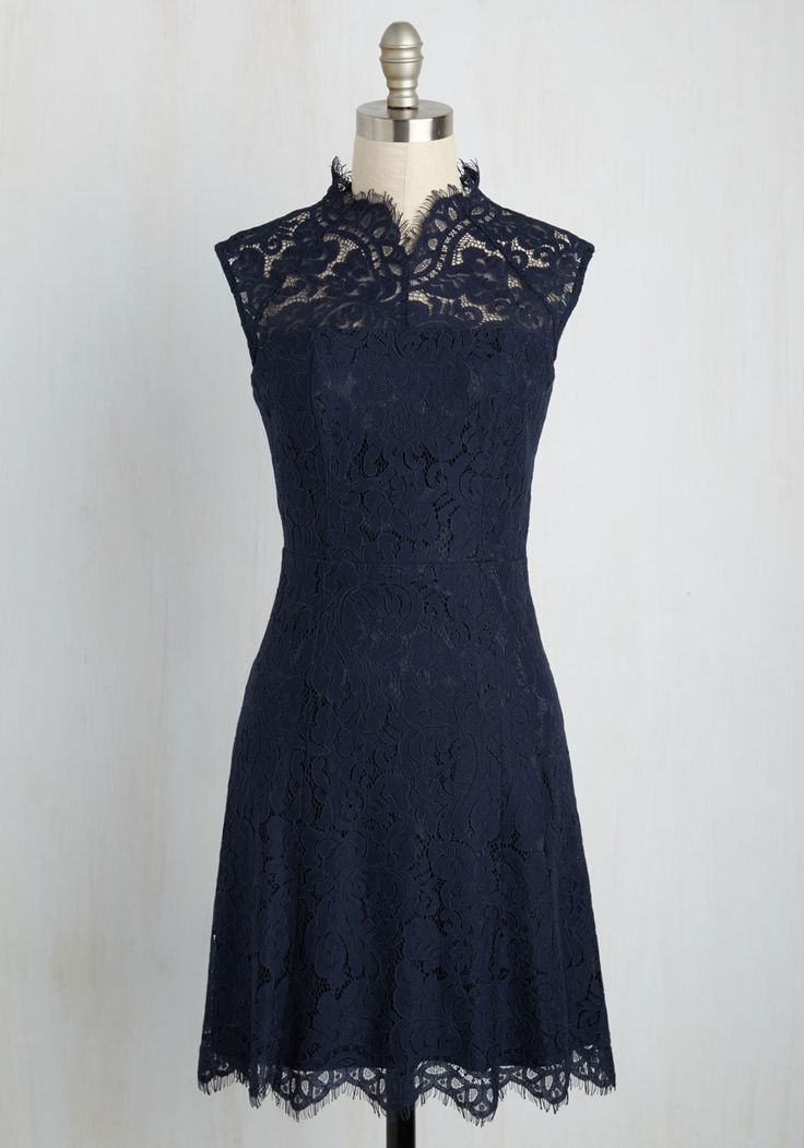 Celebrate Success Lace Dress in Navy. Whether major or minor, each accomplishment in your life deserves to be revered in this navy blue dress. #blue #modcloth