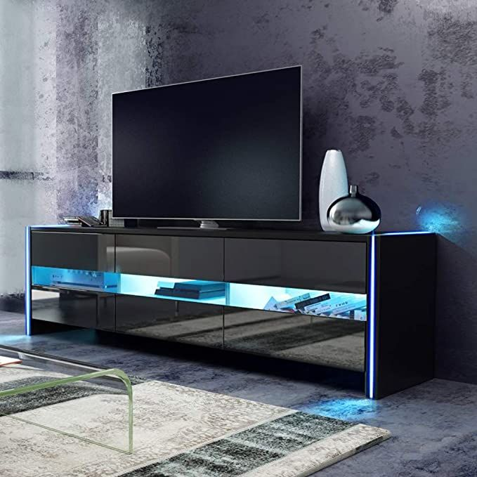 meuble tv noir led avec rangement