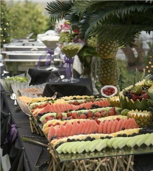 Love this fruit display... Pineapple tree are cute!