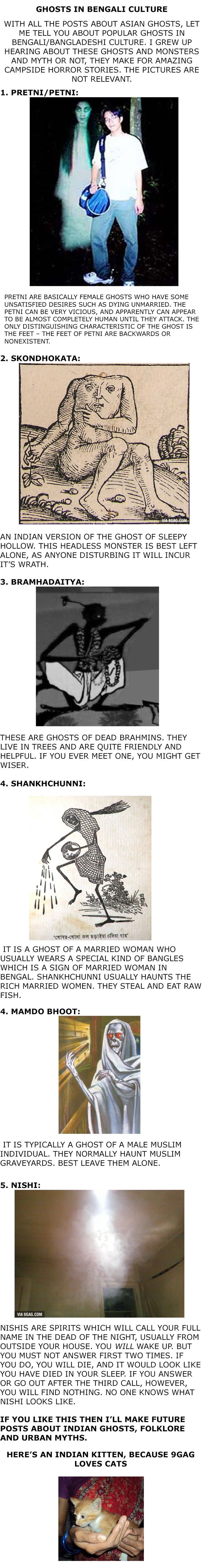 Here are 5 ghosts in Indian/Bengali culture.