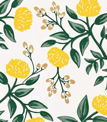 Rifle Paper Co wallpaper: Peonies Yellow. Omg! This wallpaper! Would look so pretty in a powder room or a guest bedroom.