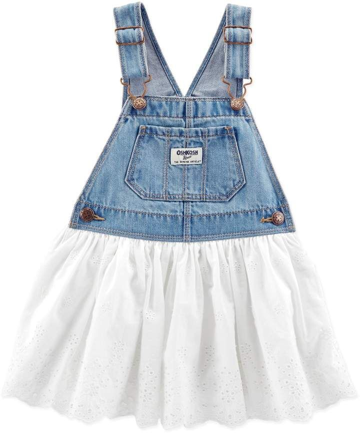 63e1b9be OshKosh B'gosh Denim and Eyelet Skortall in White | Baby & Infant ...