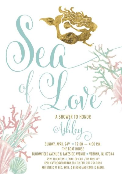What better way to incorporate my child-like spirit, my beach, sea and travel wedding theme and my favorite Disney movie than to have a MERMAID UNDER THE SEA BRIDAL SHOWER!!! First, check out my adorable invites! Now let's talk about my delicious menu! I figured this was a perfect way to have a meat