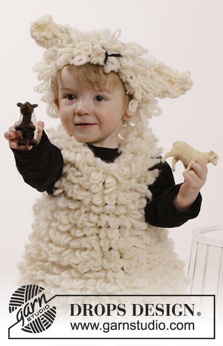 DROPS carnaval: de set bevat: gebreid DROPS schapenspencer en schapenhoofdband met gebreide lussen van Eskimo en Nepal. Maat 2 - 6 jaar Gratis patronen van DROPS Design.