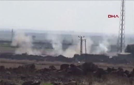 Turkey Continuous Bombardment Syrian-Kurdish positions in city of Azaz inside Syria. Footage seen from turkey's Kilis city near Syria- Turkey border.