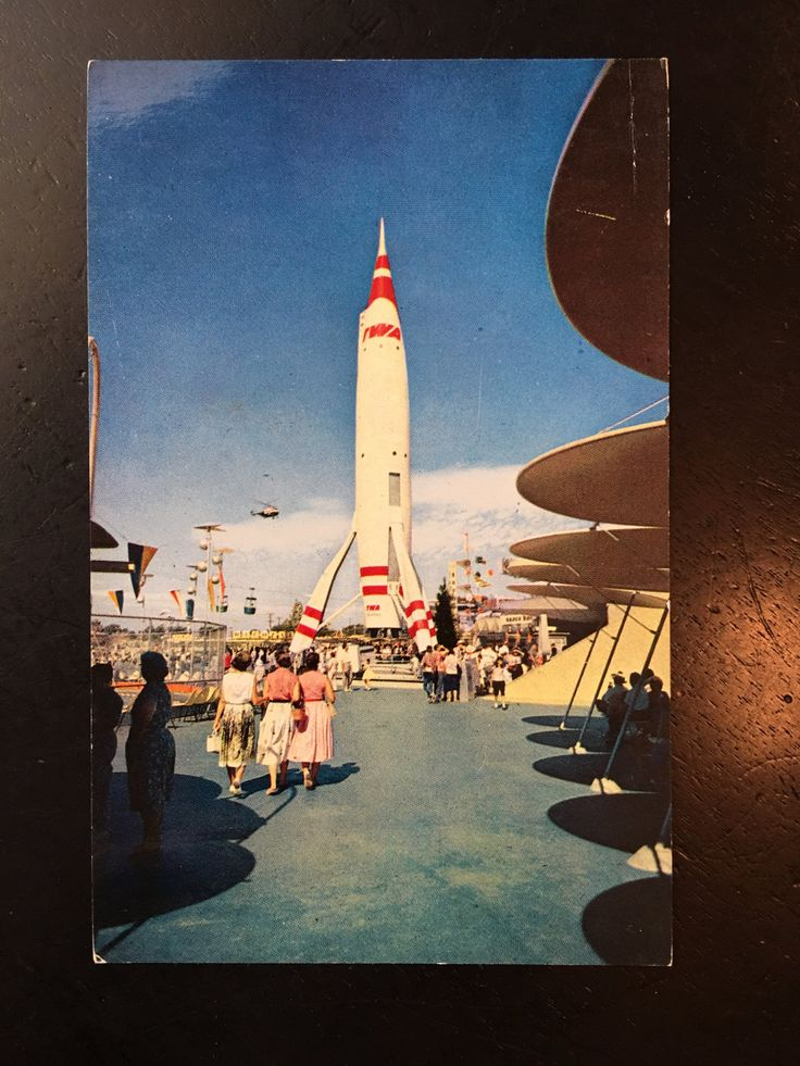 Vintage Disneyland Tomorrowland Postcard - Rocket, Heliport by VintageDisneyana on Etsy