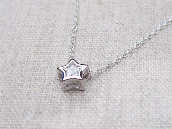 24 best bridesmaid gifts images on pinterest bridesmaid gifts crystal star necklace delicate sterling silver chain by poshbitz aloadofball Choice Image