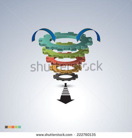 Conversion or sales funnel EPS10 Vector Infographics - stock vector