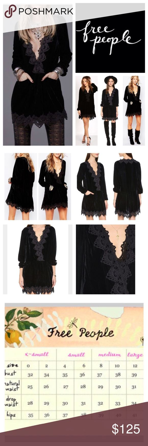 """Free People Premiere Velvet Mini Dress.  NWT. Free People Black Premier Velvet Dreams Plunge Neck Mini Dress/Tunic, 100% polyester, washable, 18.5"""" armpit to armpit (37"""" all around), 19.5"""" arm inseam, 33"""" length, tonal guipure lace accentuates the romantic look of this velvet pleated skirt with front pockets, crossover V neckline with hidden snap long sleeves, button cuffs, unlined, pullover style, measurements are approx.  NO TRADES Free People Dresses Mini"""
