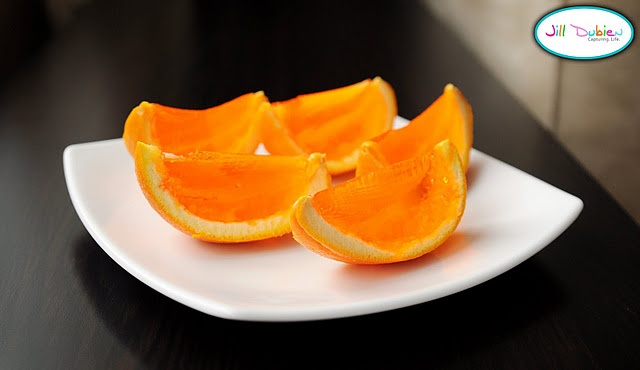 Jell-o Oranges...they are pretty with other jell-o flavors too.