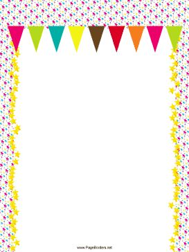 Colorful pennants hang from a pink background and strips of golden stars in this free, printable party border. Free to download and print.