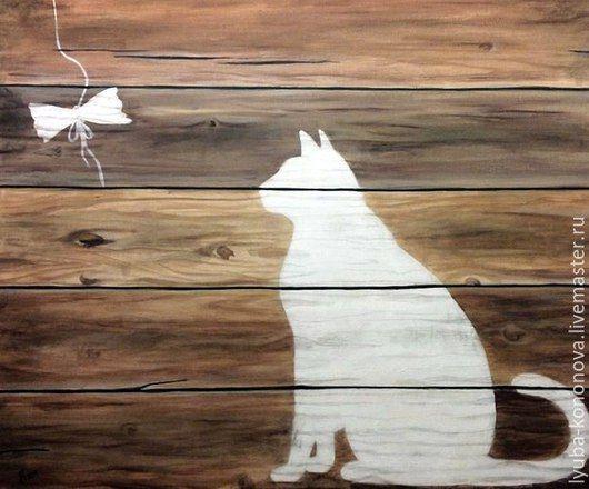 """Животные ручной работы. Ярмарка Мастеров - ручная работа. Купить """"Композиция """"Кот и бабочка"""". Handmade. Картины с животными, картины с кошками"""