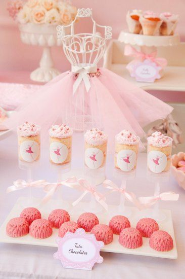 Pretty Pink Ballerina Birthday Party sweets with tutu decor