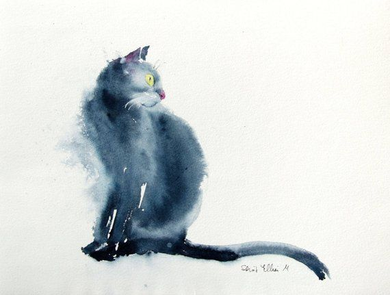 Aquarelle Originale De Chat Minimaliste Decoration D Interieur