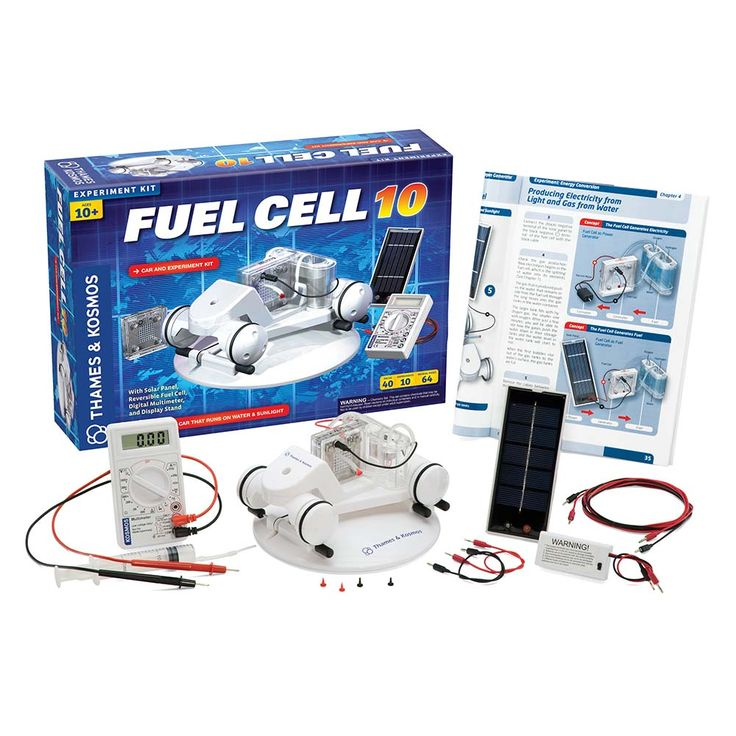 Fuel Cell 10: Car & Experiment Kit The Fuel Cell 10 Car & Experiment Kit provides a hands-on introduction to one of the most significant technologies of the early 21st century. With this kit, you can build a model car that actually runs on water! First, use solar energy to separate water into hydrogen and oxygen. Then, plug in the motor and the fuel cell uses these gases to produce electricity that moves your vehicle across the floor. The only by-product is clean water.