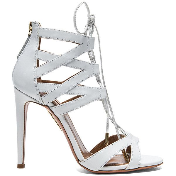 Aquazzura Beverly Hills Calfskin Leather Sandals ($745) ❤ liked on Polyvore featuring shoes, sandals, heels, sapatos, aquazzura, calf leather shoes, calfskin shoes, white heel shoes и white sandals