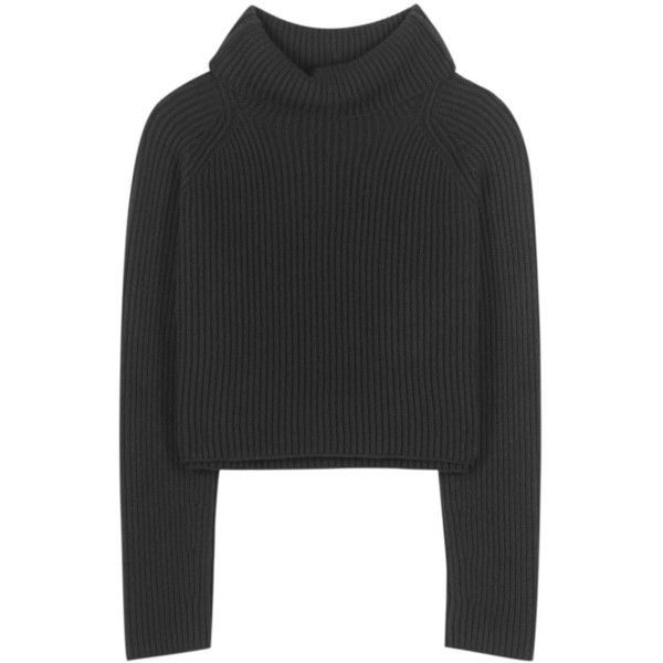 Haider Ackermann Virgin Wool Turtleneck Sweater (1,665 CAD) ❤ liked on Polyvore featuring tops, sweaters, black, haider ackermann, polo neck sweater, turtle neck sweater, turtle neck top and turtleneck top