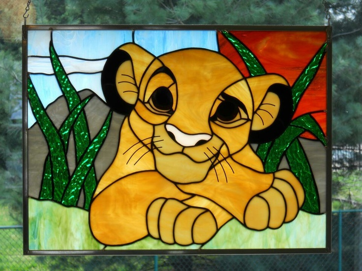 Stained glass Disney lion cub ~ Too cute