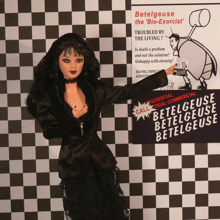 Lydia Deetz from Beetlejuice with her Bettleguise Flyer.  My new Custom Doll. See her & other Character Dolls from Moon Singer Lane.