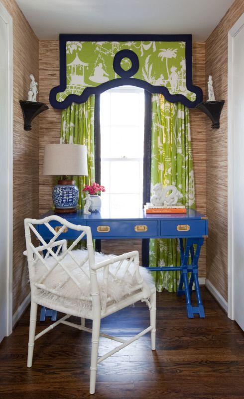 Parker Kennedy Living Interior Design Atlanta, Georgia Vintage campaign desk Pagoda drapery Chinoiserie