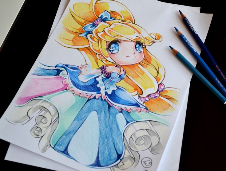 how to draw chibi princess belle