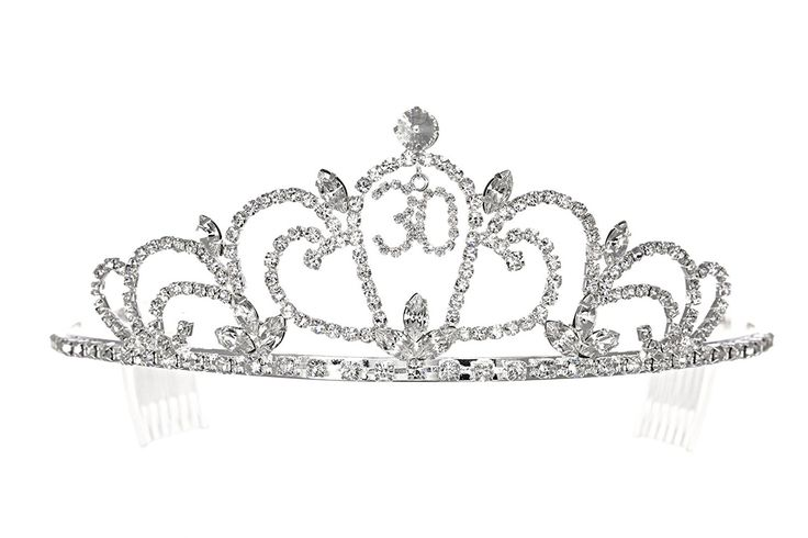 Birthday Party Rhinestone Crystal Tiara Crown - 30th Thirty Thirtieth T1195 *** Check this awesome product by going to the link at the image. #hairinspiration