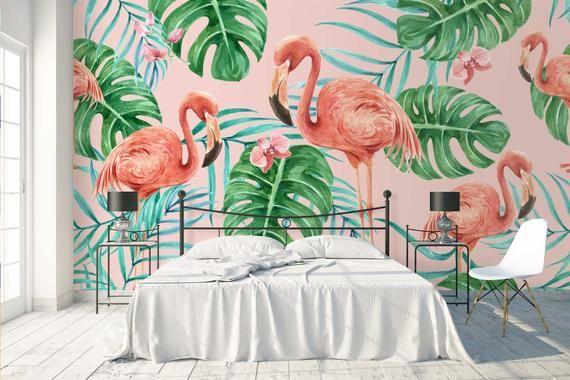 3d Watercolour Tropical Leaves Flamingo Wallpaper Mural Peel Etsy Mural Wallpaper Palm Leaf Wallpaper Wall Murals
