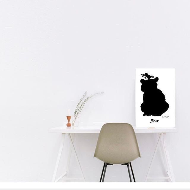 Looking for a beautiful bear print for Your Nursery? This black and white bear is a perfect babyshower gift of home  Office decor. Visit lumisadesign for more beautiful modern prints.