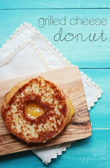 One Sweet Appetite: Grilled cheese donut. It's so odd that it's good. Combine cheddar cheese with a Krispy Kreme Donut!