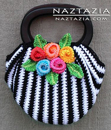 Free Pattern - Crochet Swag Bag Purse with Crocheted Flowers. How about this for a spell or working bag? Ideal to take into circle!