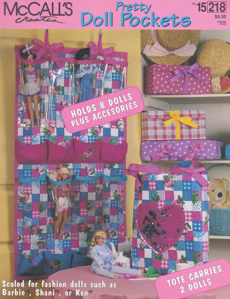 McCalls Creates Craft Pattern, Barbie Doll Door U0026 Tote Pretty Doll Pockets  Plus Storage Box