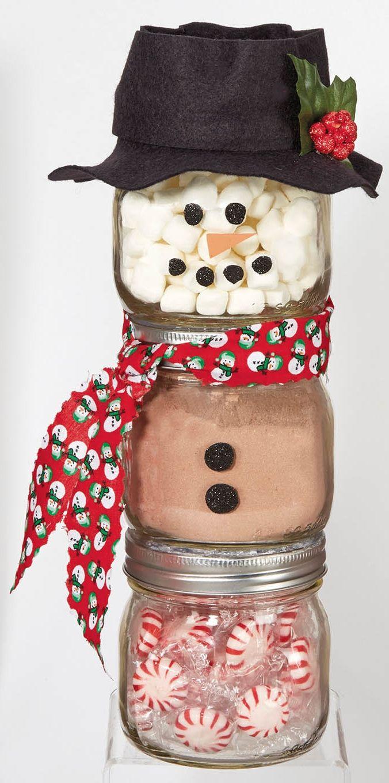 Ball Jar Snowman from @joannstores | DIY Jar Gift | Peppermint Hot Chocolate Jar…