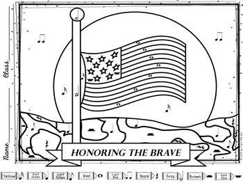 memorial day color by music notes coloring page