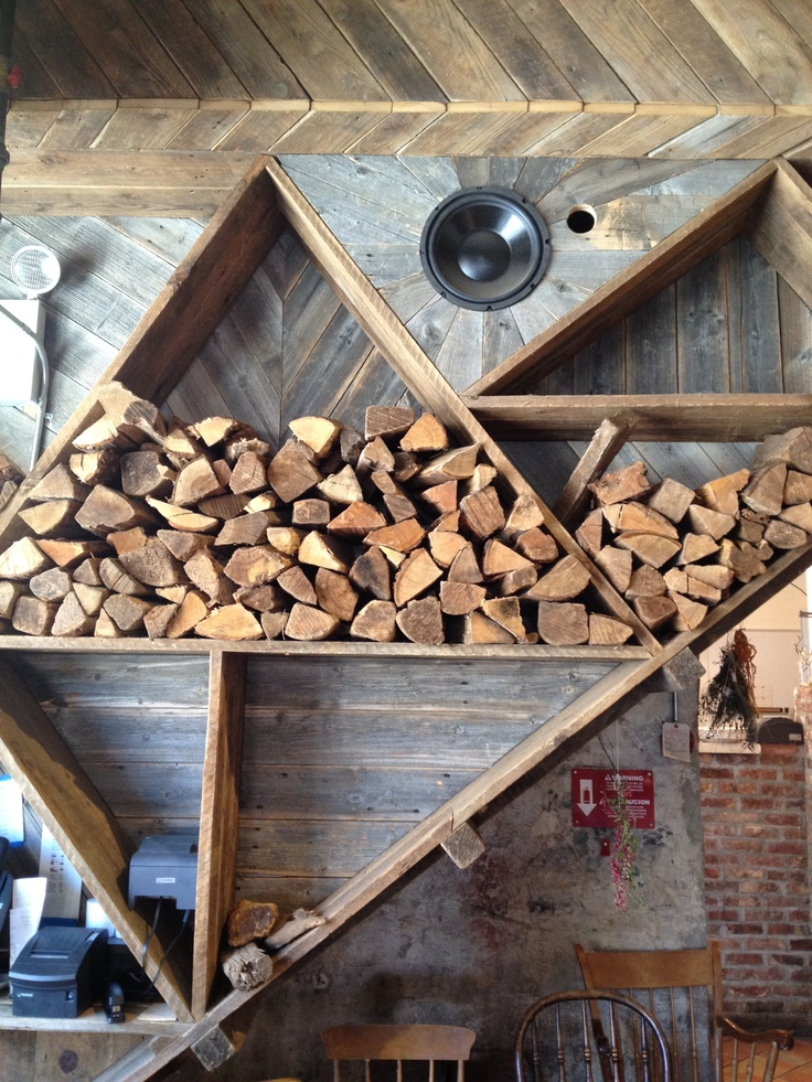 A way to store firewood in decorative way: Isa Restaurant - Brooklyn, NY   Decoration As Composition