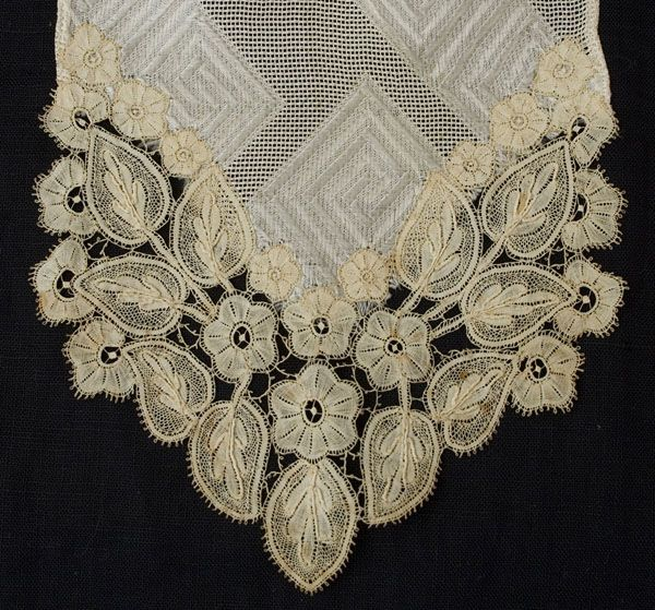 Detail:  Handmade Brussels linen lace silk scarf~1900. Duchesse. possibly late 19th c.