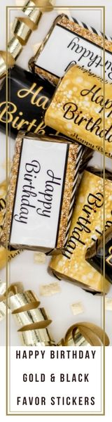 Celebrate the special birthday guest of honor with these decorative candy labels!  Your order includes 54 sticker candy labels in all.