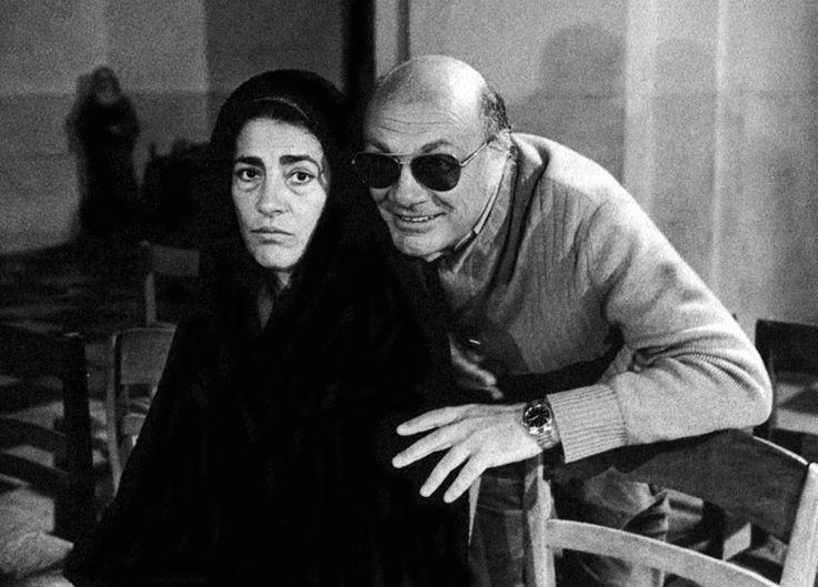 """Irene Papas and director Francesco Rosi on the set of """"Cristo si è fermato a Eboli""""   (1979)"""