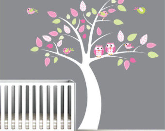 Scuola materna albero decalcomania con gufo-bambini Stickers, adesivi-Vinyl Wall Art