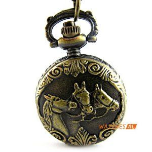 Classic Art Antique Bronze Horse Pattern Cover Quartz Pocket Watch Full Hunter by new brand. $4.99. ItemnoNBW0PA7093 GenderUnisex MovementQuartz Movement Case Size27*36mm Case Thickness12mm BezelBronze alloy bezel  DialWhite dial with Arabic numerals hour marking Case BackBronze alloy case back with flower pattern Weight26g Water resistantDaily water resistant, please don't put it in water Length44(Chain length: elongation 78cm, fold 39cm) cm