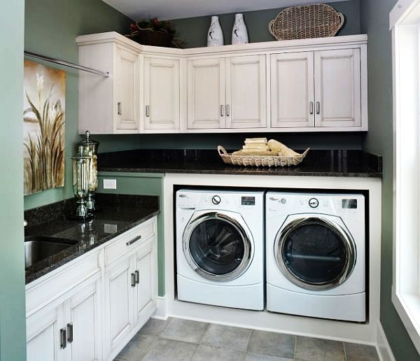 The clothes rod over the sink & cabinet offers both drip-dry & perm press hang up out of dryer...